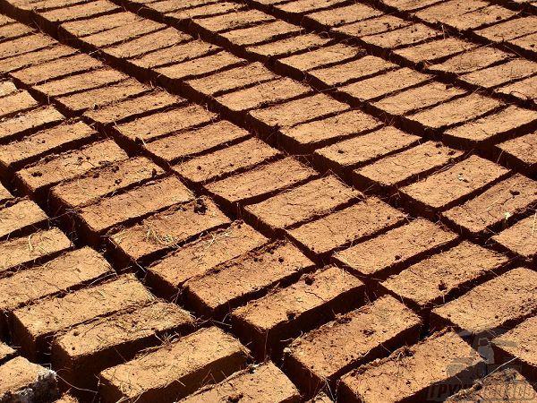 Саманные блоки сушат на открытом воздухе